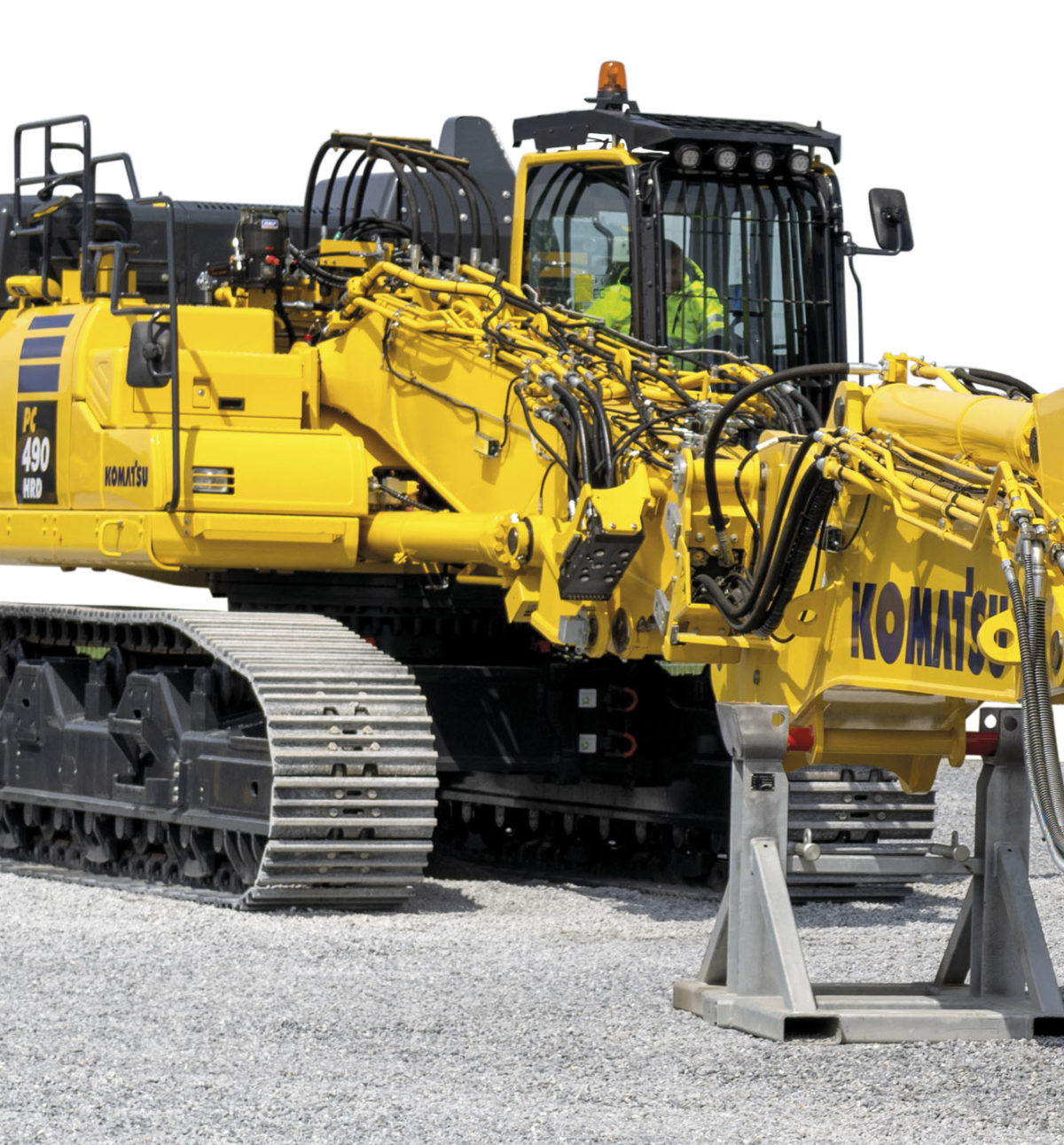 Komatsu Europe introduces the new K100 boom change system for PC490HRD-11